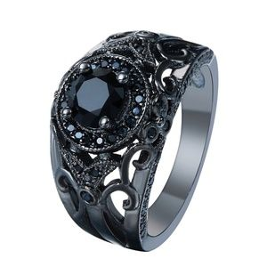 Jewelry - 18k Black Gold Plated Black CZ Ring Size 7